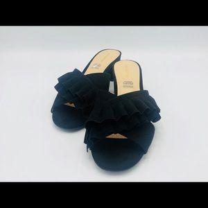 Liz Claiborne 9.5 Heeled Mule Sandal Slide Black